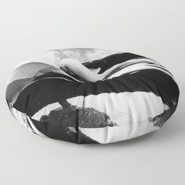 Under my Umbrella, two female figures in row boat together in the rain black and white photography / photograph Floor Pillow