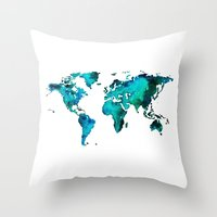 world maps Throw Pillows featuring maps by StraySheep