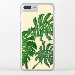 Monstera on Yellows Clear iPhone Case
