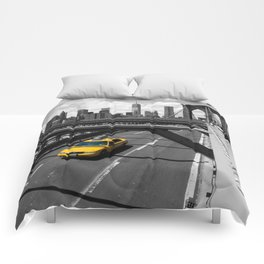 Yellow Cab on Brooklyn Bridge Comforters