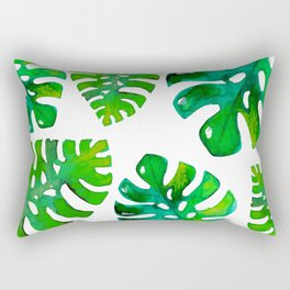 Watercolor Monstera Rectangular Pillow
