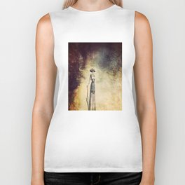 VINTAGE FASHION LADY IN ABSTRACT FOREST Biker Tank