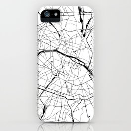 Paris France Minimal Street Map - Black and White iPhone Case