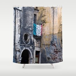 Medieval Sicilian Facade of Forza d'Agro Shower Curtain