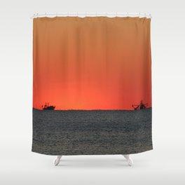 Trawlers at Sunset | Bald Head Island North Carolina Shower Curtain