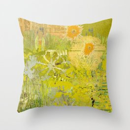 Olive Green Abstract Digital Art Collage Throw Pillow