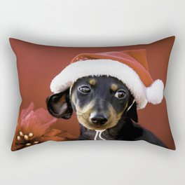 Christmas Dachshund Puppy Wearing a Santa Hat with Poinsettias Rectangular Pillow