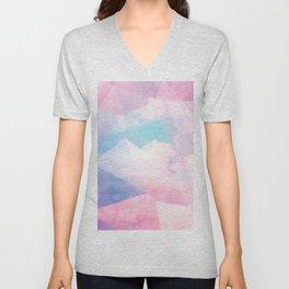 Cotton Candy Geometric Sky #homedecor #magical #lifestyle Unisex V-Neck
