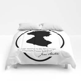 Jane Austen Quote - Large Income is Recipe for Happiness Comforters
