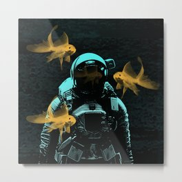 astronauts and goldfish Metal Print