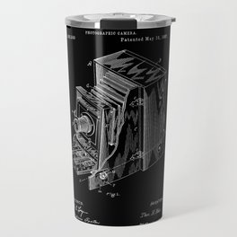Vintage Camera Patent - White on Black Travel Mug