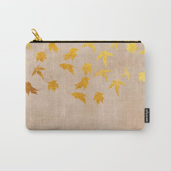 Gold leaves on grunge background - Autumn Sparkle Glitter design #Society6 Carry-All Pouch