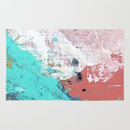 Daydreams: a colorful abstract mixed media piece in pinks, blues, greens, white, and gold Rug