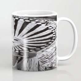 carnival mask costume street party dancer black and white photograph Coffee Mug