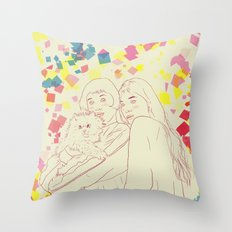 Two girls and a cat Throw Pillow