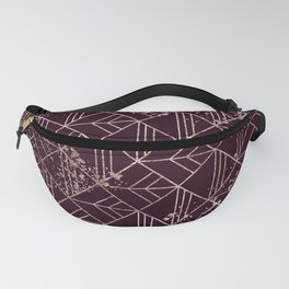 Art Deco Wine Red Gold Geometric Retro Pattern Fanny Pack