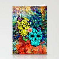 sugar skulls Stationery Cards featuring Sugar Skulls by haroulita