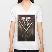 vendetta V-neck T-shirts featuring VENDETTA by The Traveling Catburys