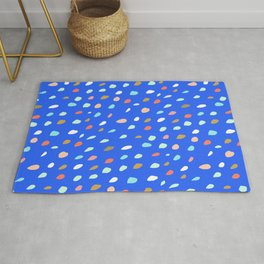 Blue Party Paint Dots Rug