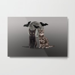 two cats with moon and bats Metal Print