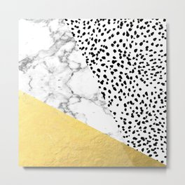 Carina - gold black and white with marble abstract painting minimalist decor dorm college nursery Metal Print