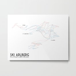 Ski Arlberg - St. Christoph and St. Anton - Labeled - Tirol, Austria - Minimalist Winter Trail Art Metal Print