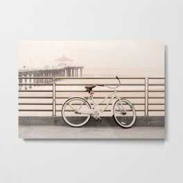 Bicycle at Manhattan Beach Pier, Riding Bikes at the Beach, Beach Art Print, California Summer Metal Print