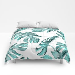 Turquoise Palm Leaves on White Wood Comforters