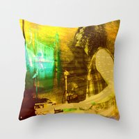 drums Throw Pillows featuring playing opium drums by ARTito