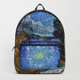 Vincent van Gogh - Road with Cypress and Star Backpack