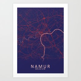 Namur, Belgium, Blue, White, City, Map Art Print