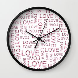 Modern pink teal love floral typography romantic valentines Wall Clock