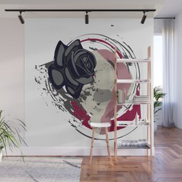 Skull with a rose on an abstract background Wall Mural