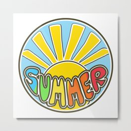 Summer ticker, Summer design, beach sticker, colorful Metal Print
