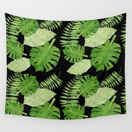 Tropical Leaves on Black Background Wall Tapestry