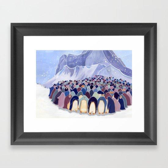 Huddling Penguins Framed Art Print