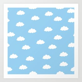 White clouds in blue background Art Print