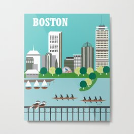Boston, Massachusetts - Skyline Illustration by Loose Petals Metal Print