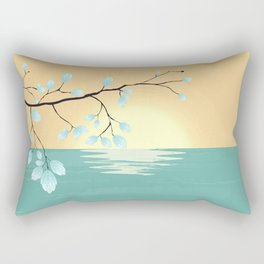Delicate Asian Inspired Image of Pastel Sky and Lake with Silver Leaves on Branch Rectangular Pillow