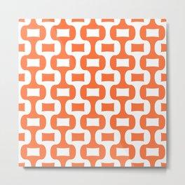 Mid Century Modern Ogee Pattern 305 Orange Metal Print