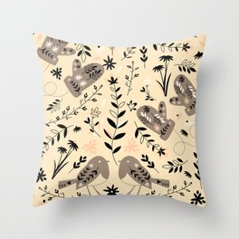 Merry winter, bullfinches and mittens Throw Pillow