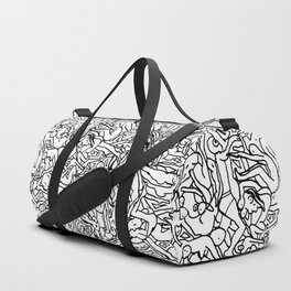 Lots of Bodies Doodle in Black and White Duffle Bag