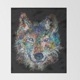 floral animals wolf 2 Throw Blanket
