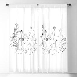 Flower Balloon Girl Minimal Line Art Blackout Curtain