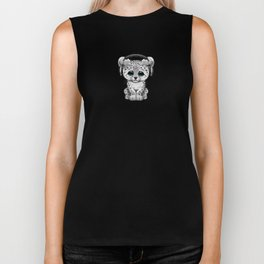Cute Snow leopard Cub Dj Wearing Headphones on Blue Biker Tank