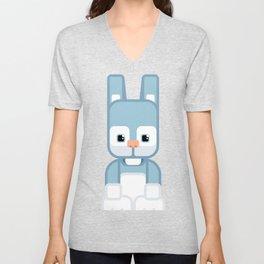 Blue Bunny Rabbit - Super Cute Animals Unisex V-Neck