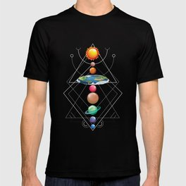 Solar System Flat Earth  I Love My Planet Space T-shirt