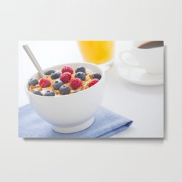 Healthy breakfast with muesli, fresh fruit, orange juice and coffee Metal Print