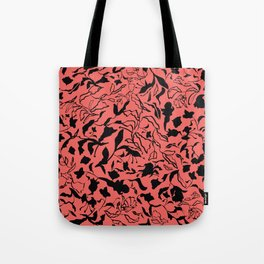 Floral texture with tulips, irises and leaves Tote Bag
