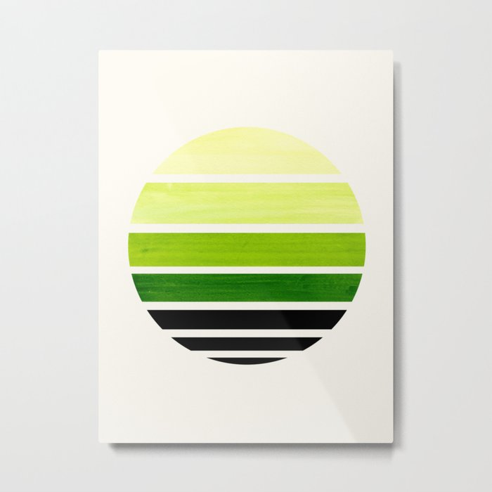 Sap Green Mid Century Modern Minimalist Circle Round Photo Staggered Sunset Geometric Stripe Design Metal Print